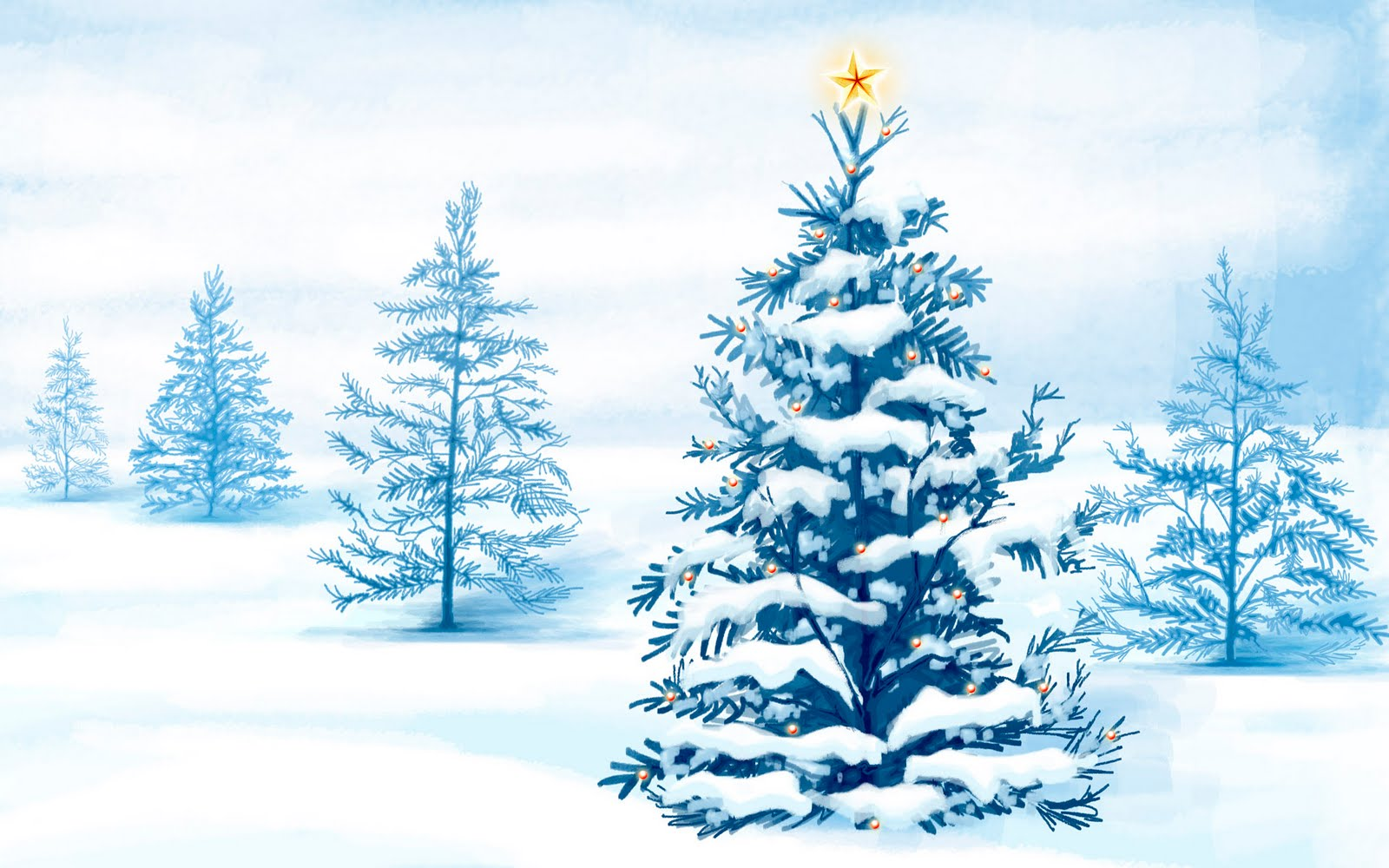 Christmas Snow Trees Backgrounds